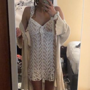 Lace floral beige and white dress